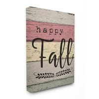 Happy Fall Distressed Wood Leaves Stretched Canvas Wall Art