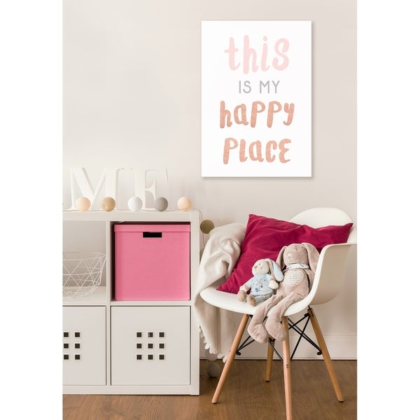 This is My Happy Place Copper Typography Stretched Canvas Wall Art