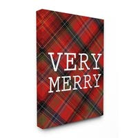 Very Merry Christmas Tartan Stretched Canvas Wall Art