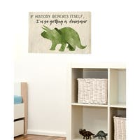 I'm So Getting a Dinosaur Green Triceratops Stretched Canvas Wall Art