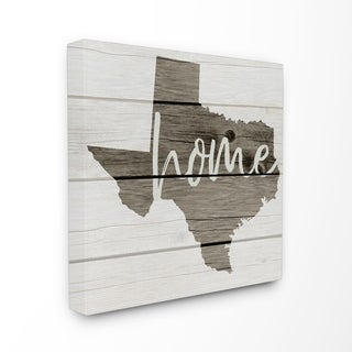 Texas Home Typography Map Stretched Canvas Wall Art (2 options available)