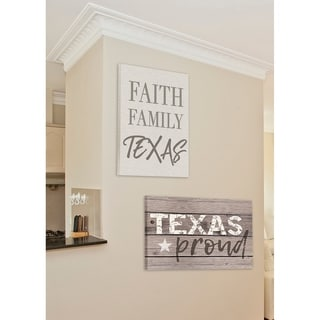 Faith Family Texas Typography Stretched Canvas Wall Art