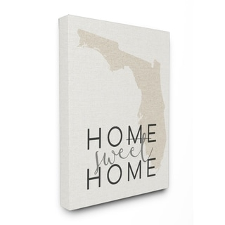 Home Sweet Home Florida Typography Stretched Canvas Wall Art