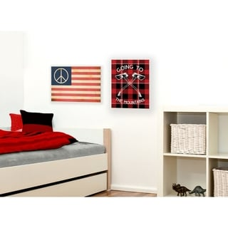 Peace American Flag Stretched Canvas Wall Art