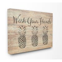 Wash Your Hands Pineapple Stretched Canvas Wall Art