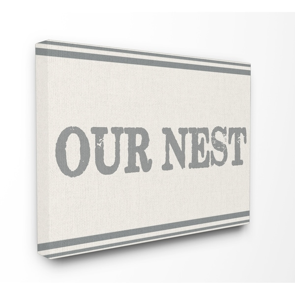 Our Nest Flour Sack Typography Stretched Canvas Wall Art