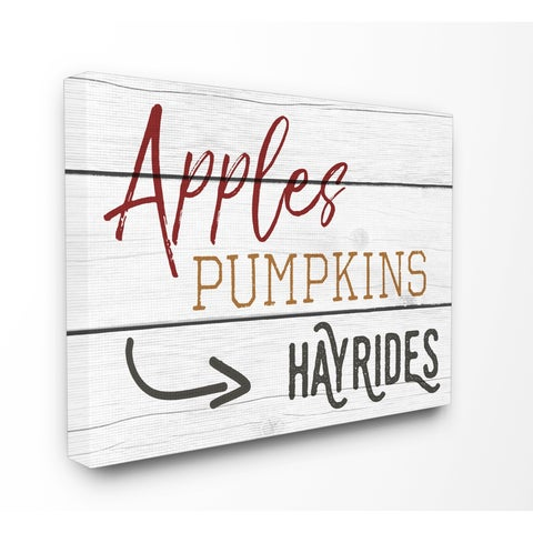 Apples Pumpkins Hayrides Vintage Sign Stretched Canvas Wall Art