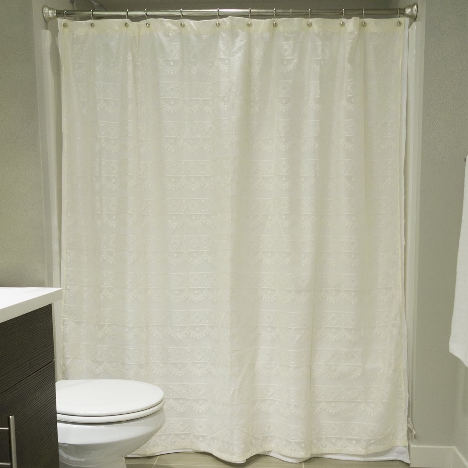 Off-White Diamond Lace Shower Curtain 738215352354 | eBay