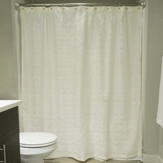 Off-White Diamond Lace Shower Curtain