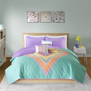 Intelligent Design Presley Aqua Printed Quilted 5-piece Coverlet Set (2 options available)