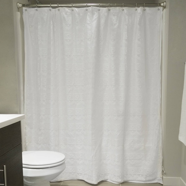 Shop White Diamond Lace Shower Curtain Free Shipping On