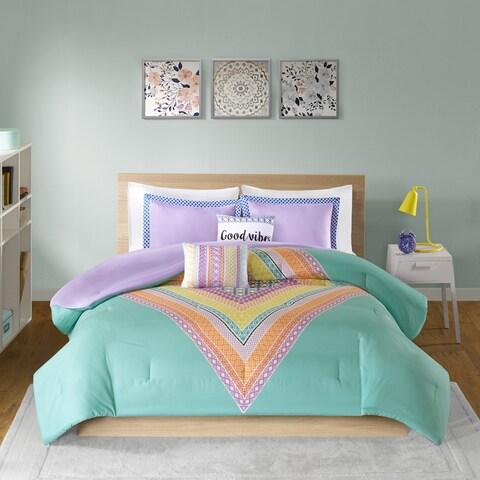 Intelligent Design Presley Aqua Printed 5-piece Comforter Set
