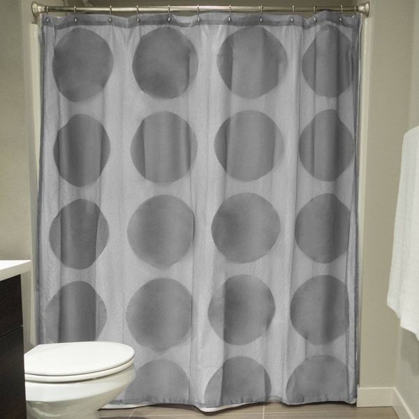 Grey Circle Lace Shower Curtain