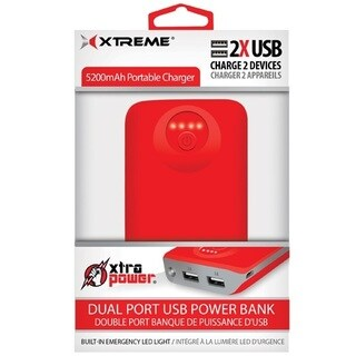 5200 mAh Dual Port USB Power Bank - Red