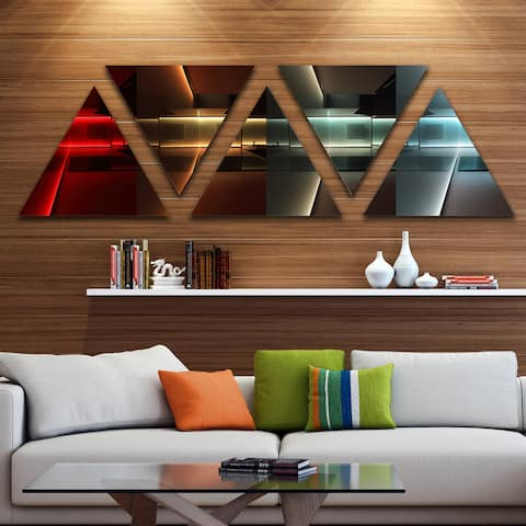 Designart 'Kitchen with LED Lighting' Contemporary Canvas art print - Triangle 5 Panels