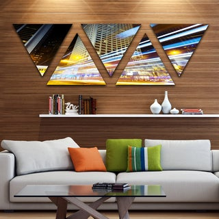 Designart 'Urban City Traffic Trails' Cityscape Digital Art Canvas Print - Triangle 5 Panels