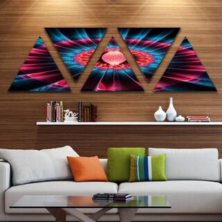 Designart 'Contemporary Colorful Fractal Flower' Floral Canvas Art print - Triangle 5 Panels