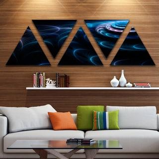Designart 'Blue Fractal Flower in Dark' Large Floral Canvas Art Print - Triangle 5 Panels
