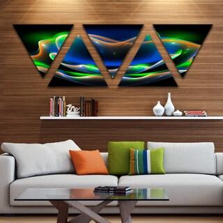 Designart 'Green Fractal Flower in Dark' Floral Canvas Art print - Triangle 5 Panels
