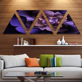 Designart 'Blue Fractal Flower in Dark' Floral Canvas Art Print - Triangle 5 Panels