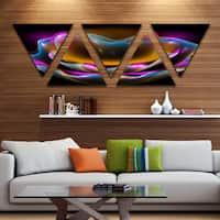 Designart 'Colorful Fractal Flower in Dark' Floral Canvas Art print - Triangle 5 Panels - Purple