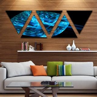Designart 'Blue Fractal Cube in Dark' Contemporary Canvas Art Print - Triangle 5 Panels