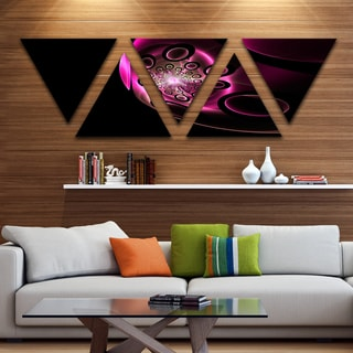 Designart 'Purple Fractal Sphere in Dark' Floral Canvas Art print - Triangle 5 Panels
