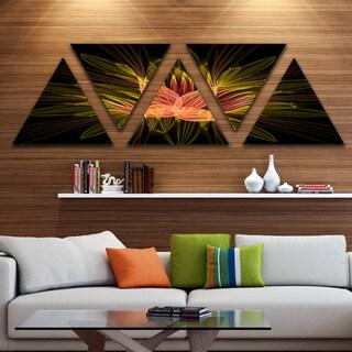 Designart 'Yellow Red Fractal Flower in Dark' Floral Canvas Art print - Triangle 5 Panels