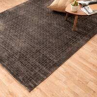 Hand-woven Grandeur Charcoal Viscose Rug (8'6 x 11'6)