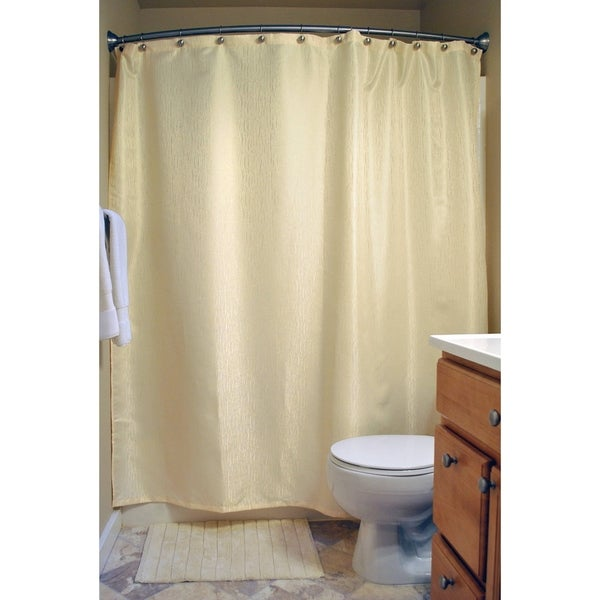 Cream Bamboo-Detailed Shower Curtain