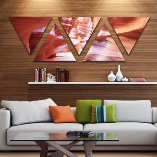 Designart 'Panoramic View Antelope Canyon' Landscape Photography Canvas Print - Triangle 5 Panels