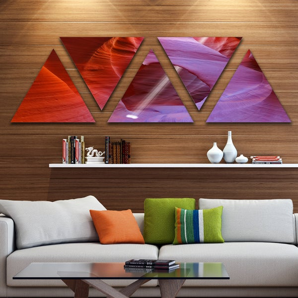 Designart 'Red Orange Antelope Canyon' Landscape Photo Canvas Art Print - Triangle 5 Panels