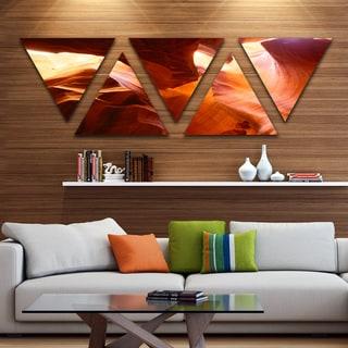 Designart 'Yellow Antelope Canyon' Landscape Photo Canvas Art Print - Triangle 5 Panels