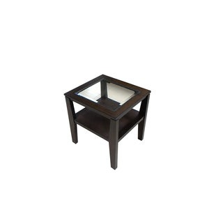 Simmons Casegoods Nathan Espresso Veneer/Hardwood/Tempered Glass End Table