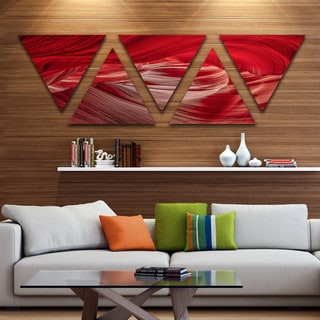 Designart 'Red Shade in Antelope Canyon' Landscape Photography Canvas Print - Triangle 5 Panels