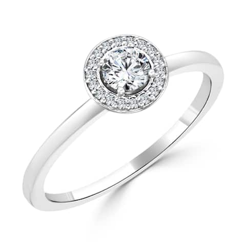 Auriya 10k Gold 1/3ctw Round Diamond Halo Engagement Ring