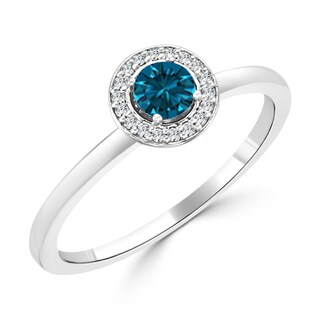 10K Gold 1/3ct TDW Round Blue Diamond Halo Engagement Ring By Auriya