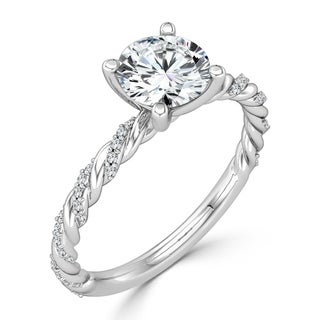 Auriya 10K While Gold 4/5ct TDW Twisted Rope Diamond Engagement Ring