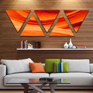 Designart 'Antelope Canyon Orange Wall' Landscape Photography Canvas Print - Triangle 5 Panels