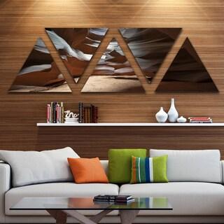 Designart 'Antelope Canyon Dark Inside' Landscape Photo Canvas Art Print - Triangle 5 Panels