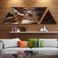 Designart 'Antelope Canyon Dark Inside' Landscape Photo Canvas Art Print - Triangle 5 Panels - Brown