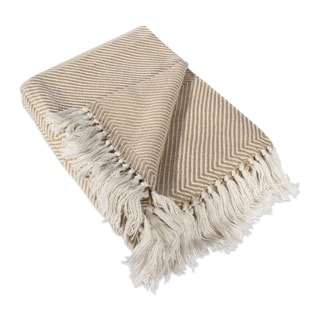 Luxury Knit Tan Chevron Throw