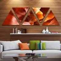 Designart 'Sunshine in Antelope Canyon' Landscape Photo Canvas Art Print - Triangle 5 Panels - Brown