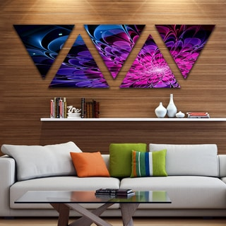 Designart 'Fractal Purple Rose Flower' Floral Art Canvas Print - Triangle 5 Panels