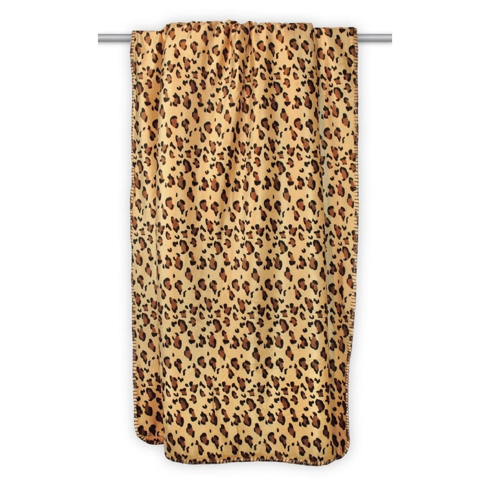 Leopard Sherpa Throw, Black (Polyester, Animal Print)