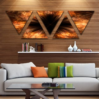 Designart 'Fractal Black Brown Flower' Floral Canvas Art print - Triangle 5 Panels