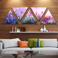 DesignArt 'Growing and Blooming Lavender' Floral Canvas Art print - Triangle 5 Panels - Purple