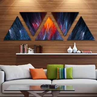 Designart 'Fractal Fire in Light Blue' Contemporary Canvas Art Print - Triangle 5 Panels