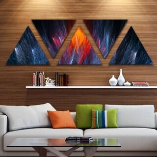 Designart 'Fractal Fire in Light Blue' Contemporary Canvas Art Print - Triangle 5 Panels