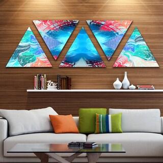 Designart 'Extraordinary Fractal Blue Texture' Contemporary Triangle Canvas Art Print - 5 Panels